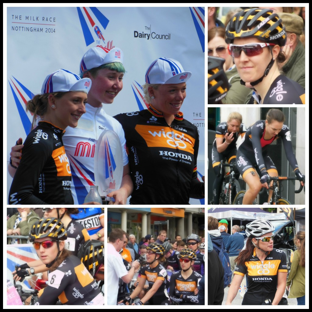 ©Ordinary Cycling Girl Pictures top left-clockwise: Katie Archibald, Laura Trott and Charlotte Becker, Dani King at the start line, Dani King and Laura Trott warming up, Elinor Barker