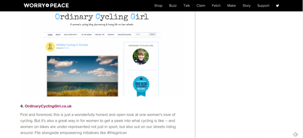 Worry+Peace name Ordinary Cycling Girl in top 10 UK Cycling Sites