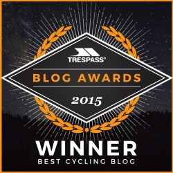 Trespass Blog Awards, Best Cycling Blog 2015 winner, Ordinary Cycling Girl, women's cycling