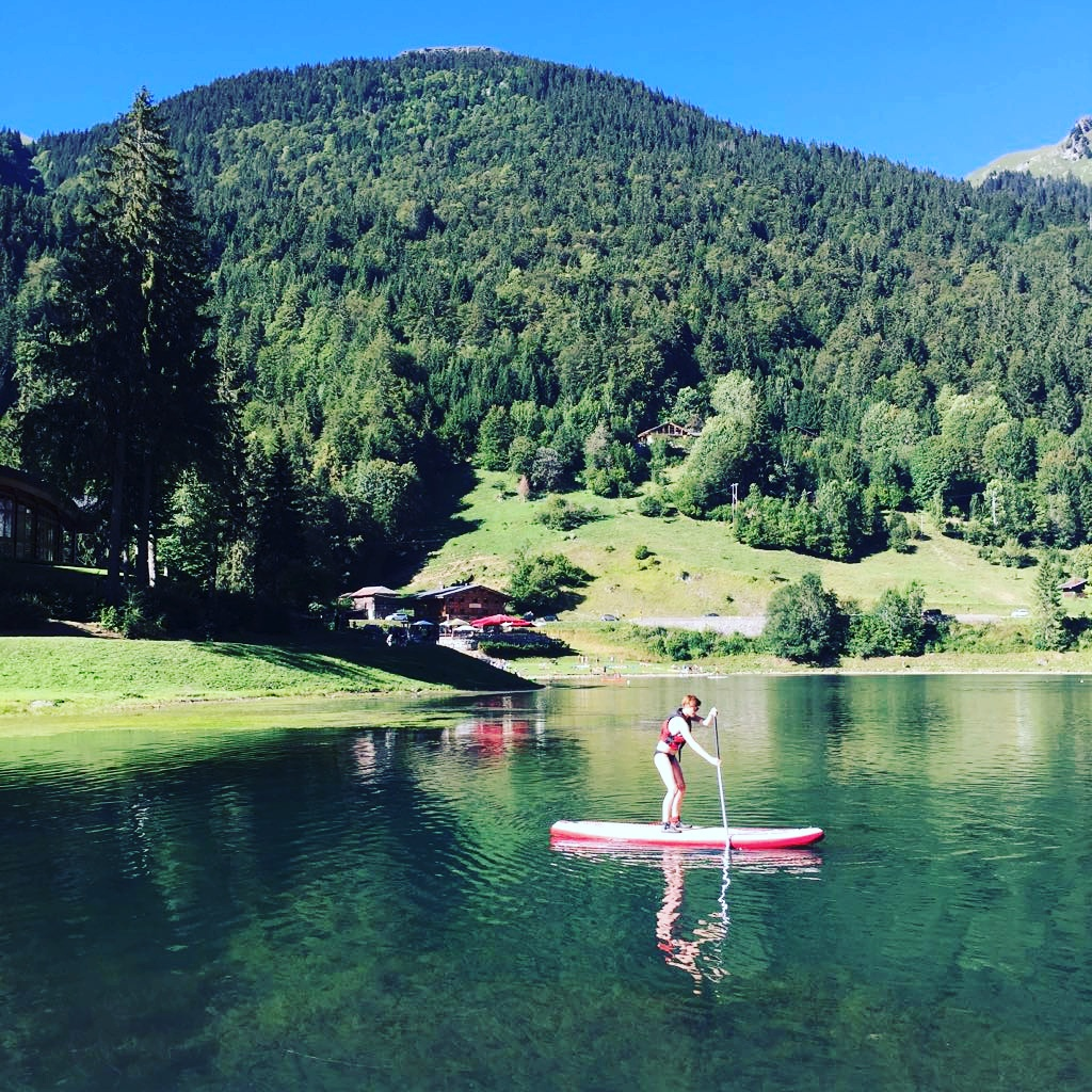 SUP, Standup paddleboarding in the French Alps